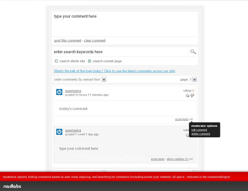 Ajax'd Site Comments & Discussions plugin
