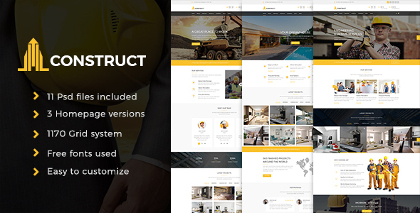 Construction – Construction Company PSD Template