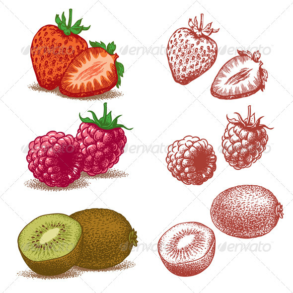 Strawberry, Raspberry, Kiwi - Flowers & Plants Nature