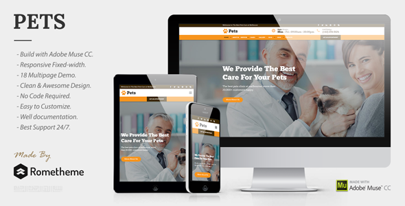 PETS - Pet Care, Shop, and Veterinary Muse Template - Corporate Muse Templates