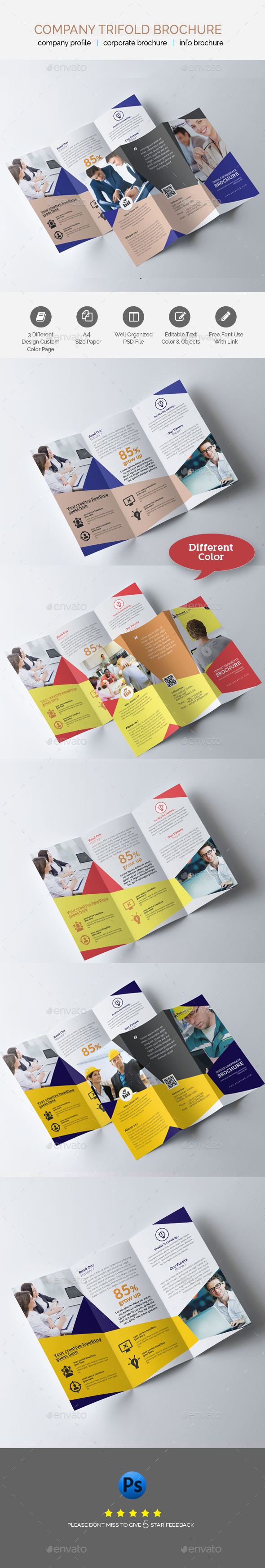 Business Trifold Brochure Template - Brochures Print Templates