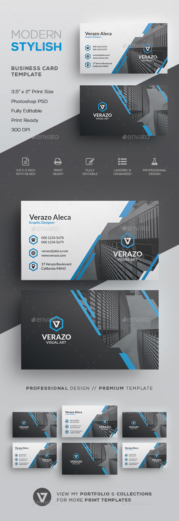 Modern Stylish Corporate Business Card Template - Corporate Business Cards