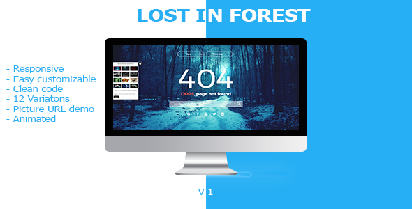 Lost In Forest – Responsive Error Page