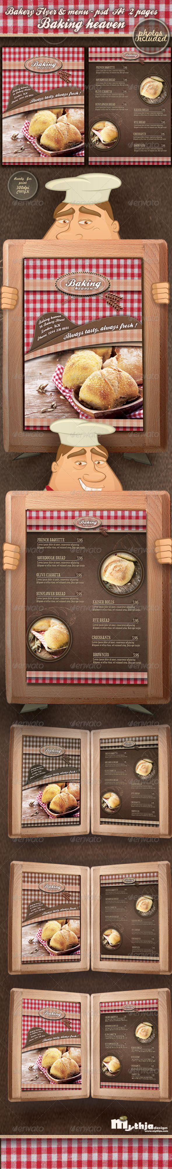 Bakery Flyer & Menu Template (Photos Included) - Food Menus Print Templates
