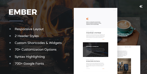 Ember - Responsive WordPress Blog Theme - Personal Blog / Magazine