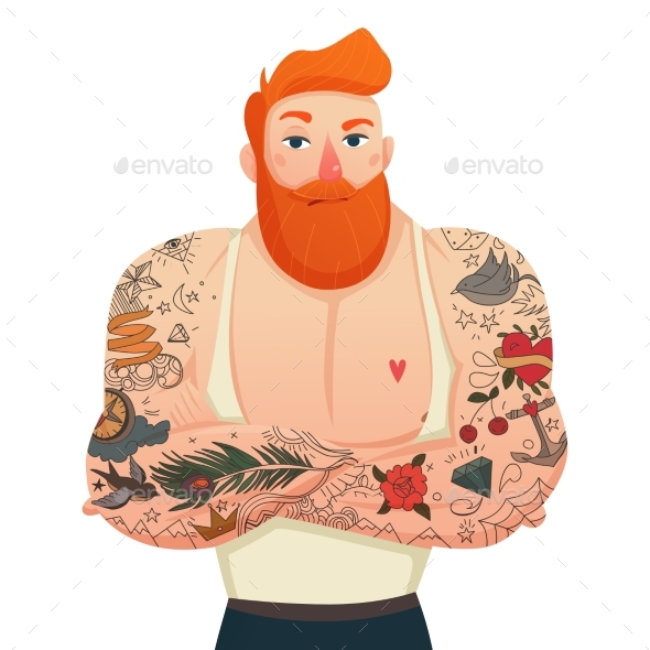 Tattooed Man Isolated Figurine - Objects Vectors