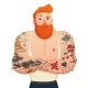 Tattooed Man Isolated Figurine