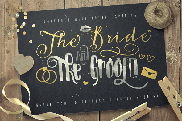 Just Married wedding lettering font - Calligraphy Script