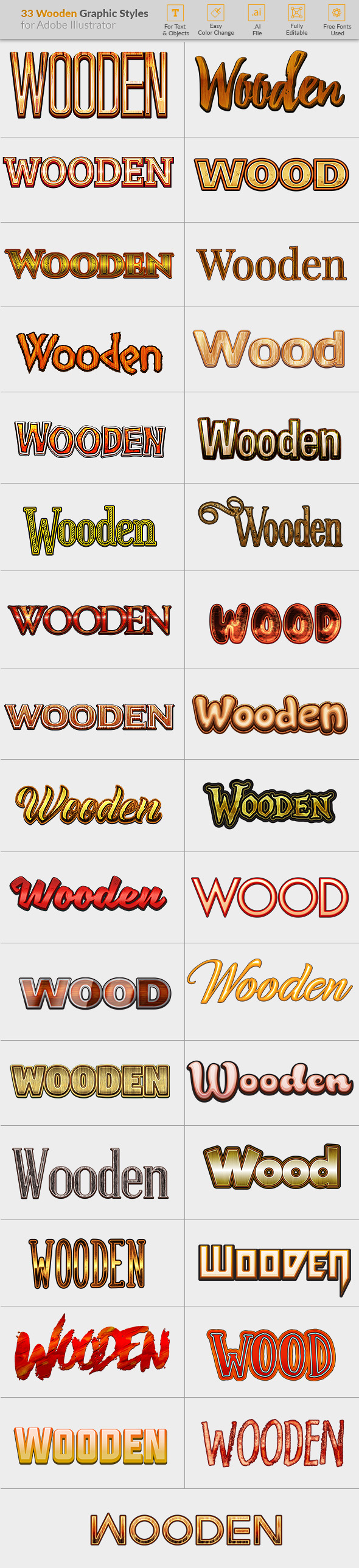 33 Wooden Graphic Styles for Illustrator - Styles Illustrator
