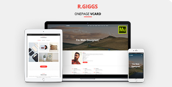 R. Giggs - Vcard, Portfolio & CV Resume Muse Template - Personal Muse Templates