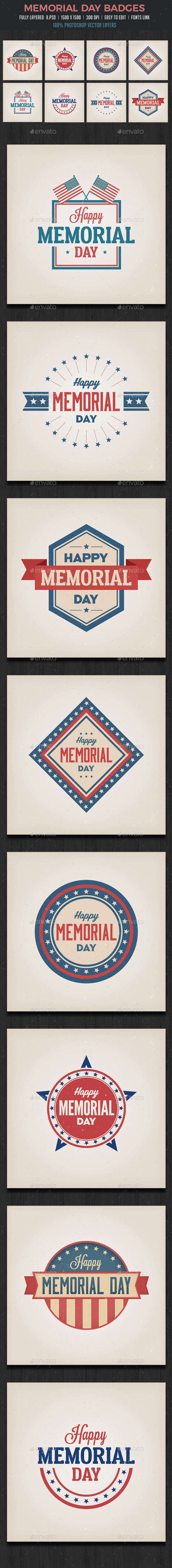 Memorial Day /  July 4th Badges - Badges & Stickers Web Elements