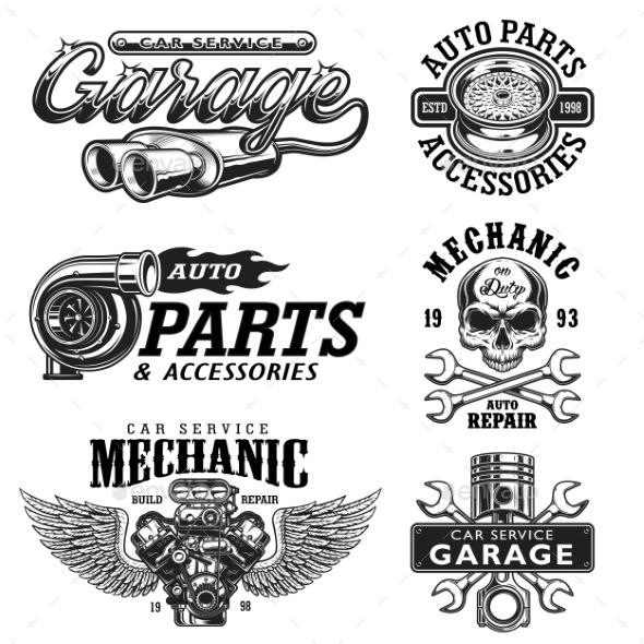 Set of Vintage Monochrome Car Repair Emblems - Miscellaneous Vectors