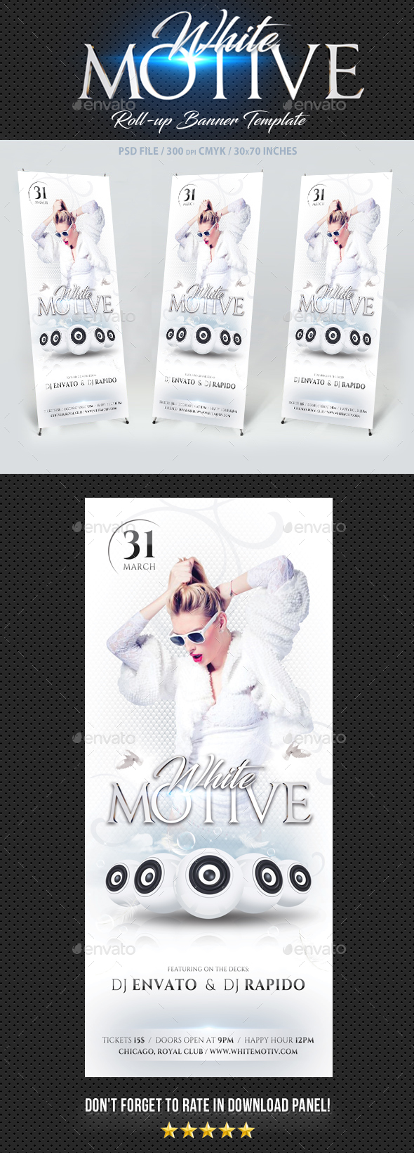 White Motive Banner Template - Signage Print Templates