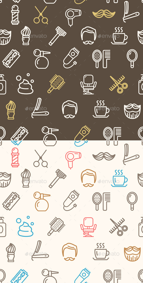 Barber Shop Pattern Background - Patterns Decorative