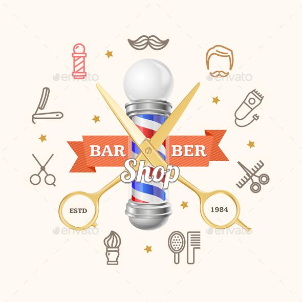 Barber Shop Emblem with Gold Scissors and Pole - Decorative Symbols Decorative