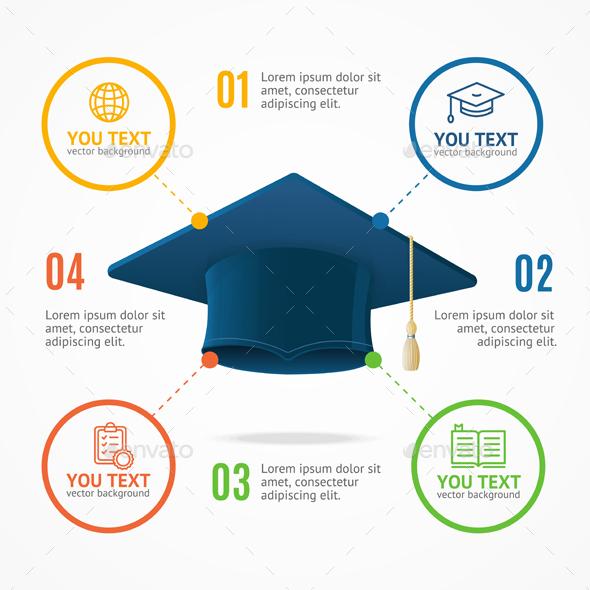 Student Hat Menu Infographic Option Banner Card - Miscellaneous Vectors