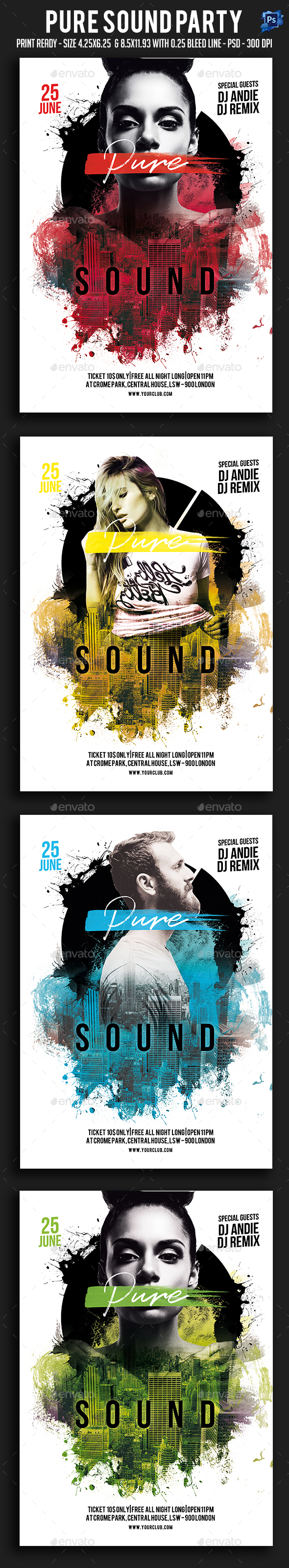 Pure Sound Party Flyer - Clubs & Parties Events