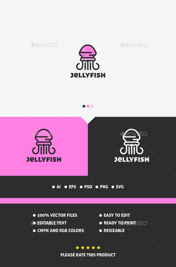 Jellyfish Logo Template - Animals Logo Templates