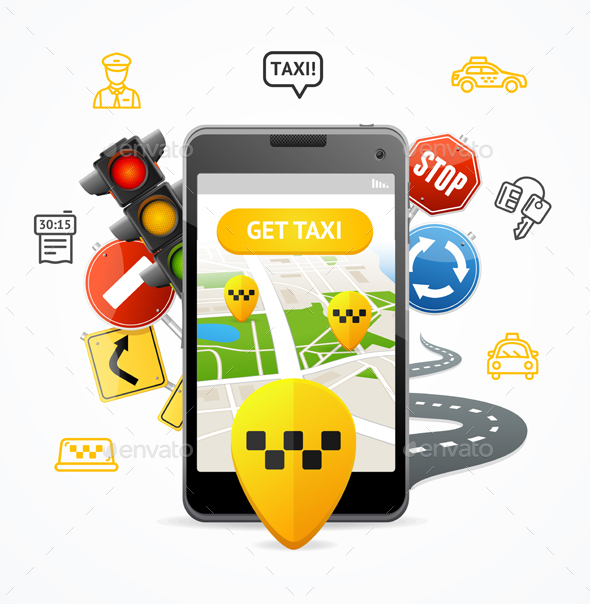 Taxi Services Concept Mobile Phone App - Travel Conceptual