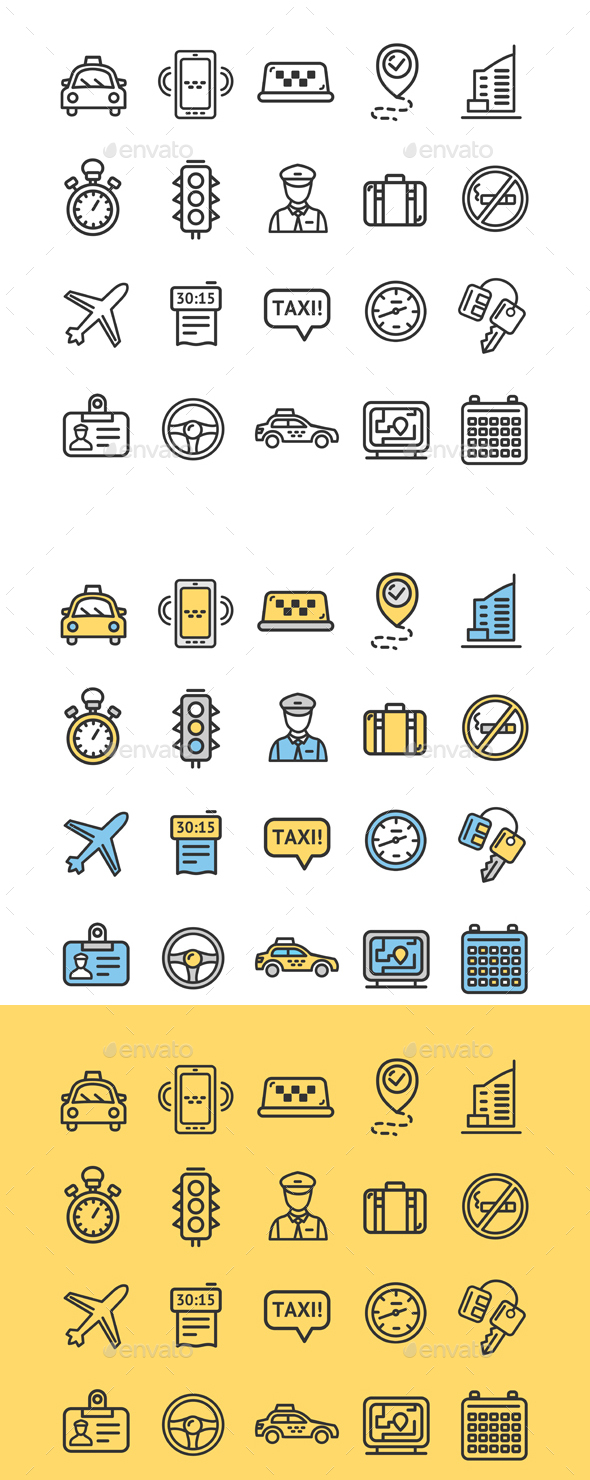 Taxi Services Icon Thin Line Set - Decorative Symbols Decorative
