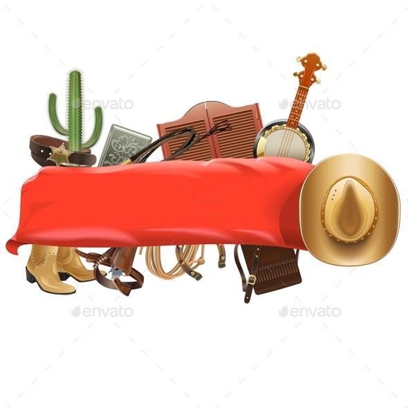 Festive Cowboy Banner - Miscellaneous Vectors