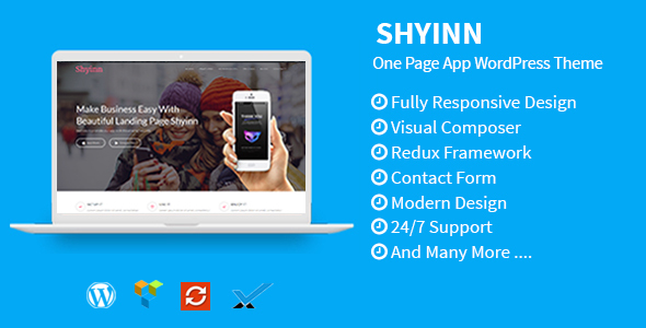 Shyinn - One Page App WordPress Theme - Software Technology