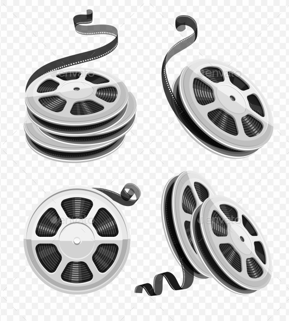 Movie Video Film Disks with Tape Set - Miscellaneous Vectors