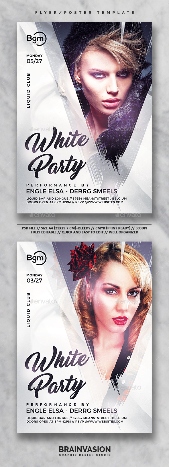 White Party Flyer/Poster Template Vol.01 - Clubs & Parties Events