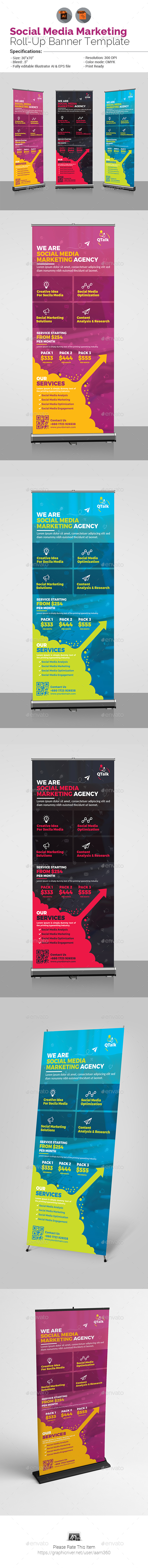 Social Media Marketing Roll Up Banner V2 - Signage Print Templates