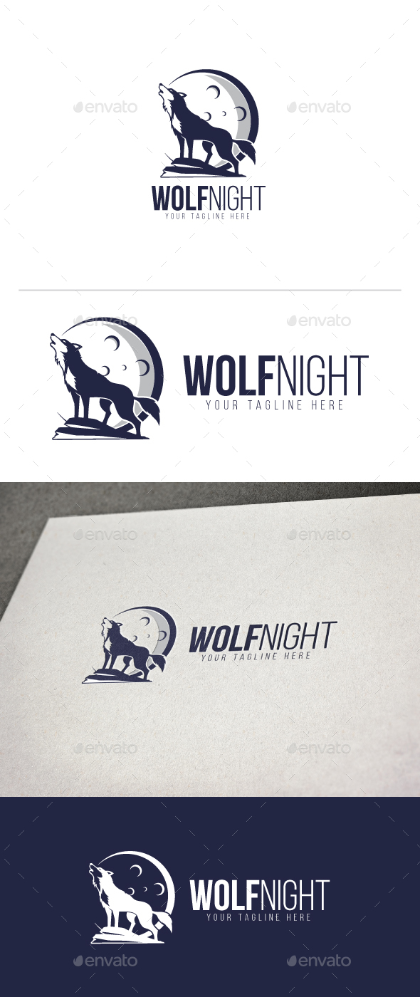 Wolf Night Logo - Animals Logo Templates