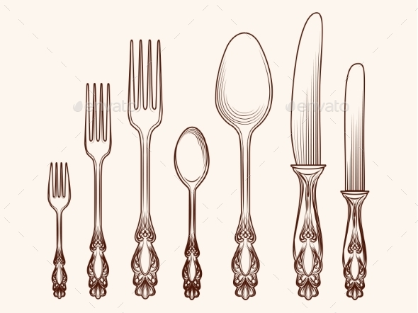 Vintage Kitchen Cutlery Objects Sketch - Food Objects
