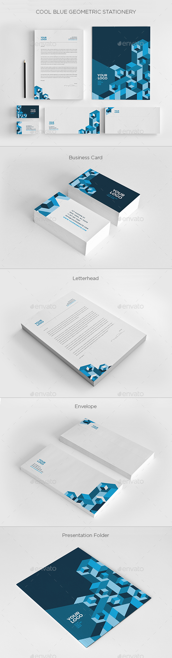 Cool Blue Geometric Stationery - Stationery Print Templates