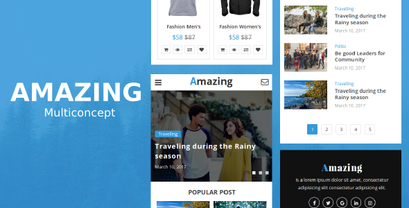 Amazing - Multiconcept News, Magazine, Blog and eCommerce Mobile Template - Mobile Site Templates