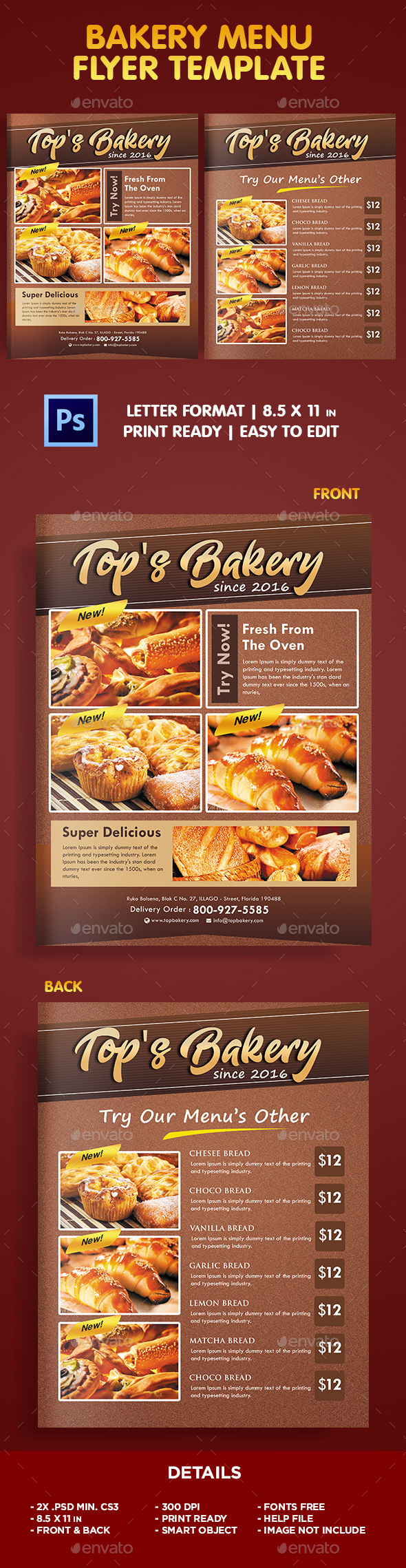 Bakery menu flyer template by ivanjoys19 graphicriver for Bakery brochure template free