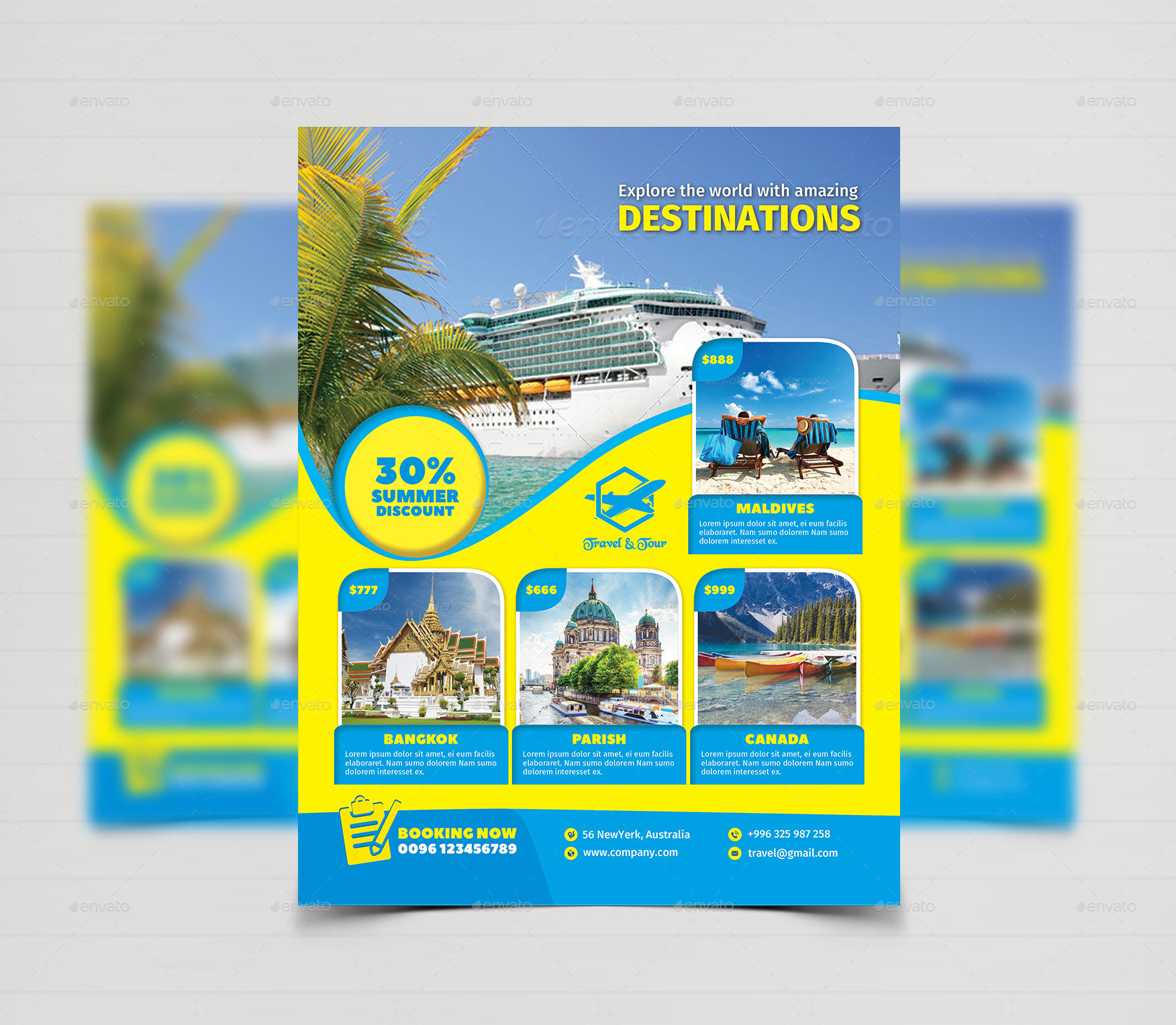 travel tour flyer templates by creative
