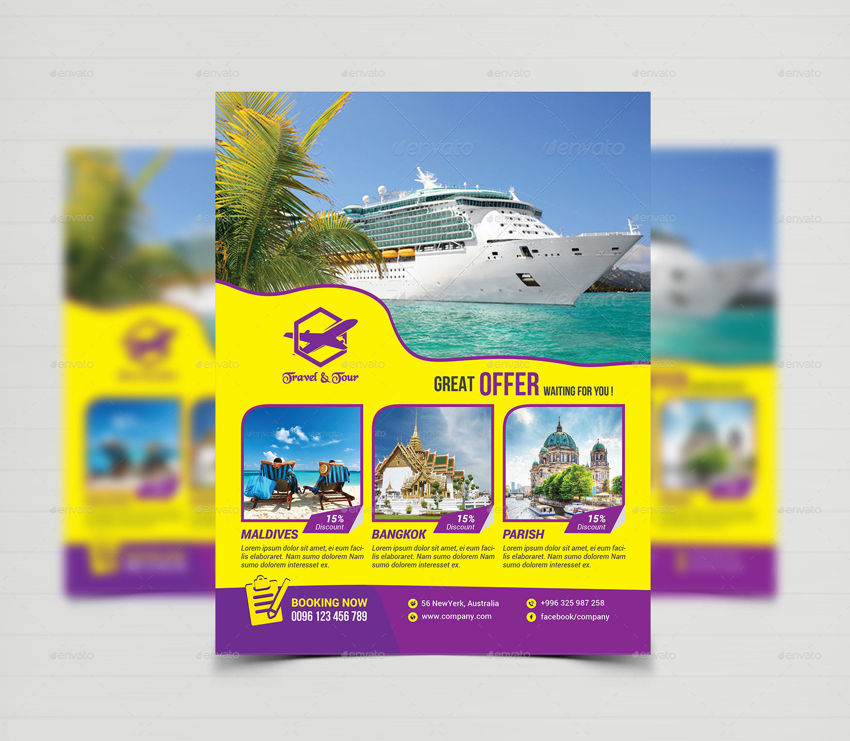 Tourism Events Calendar Flyer Template: Travel Tours Flyer Templates By Creative-Touch