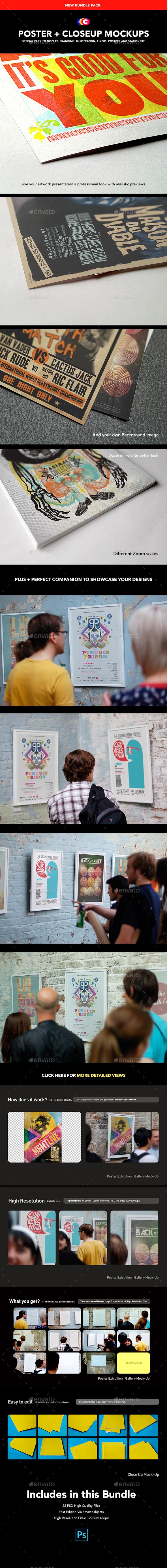 CloseUp + Poster MockUp | Detail Gallery Edition - Print Product Mock-Ups