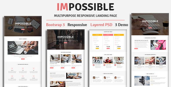 Image of IMPOSSIBLE - Multipurpose Responsive HTML Landing Page