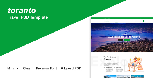 Toranto Travel PSD Template