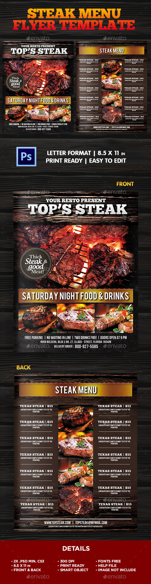 BBQ - Steak Menu Flyer Template - Restaurant Flyers