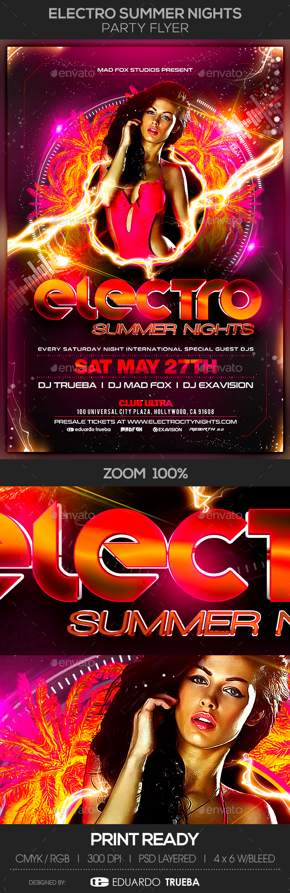 Electro Summer Nights Party Flyer - Clubs & Parties Events