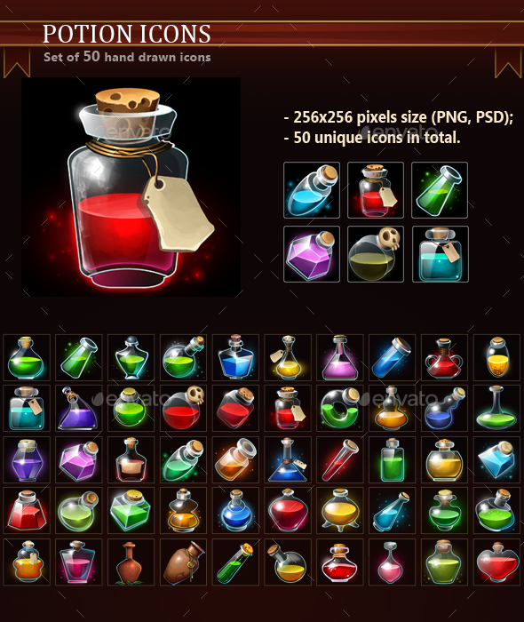 Potion Icons - Miscellaneous Game Assets