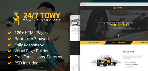 Towy – Emergency Auto Towing and Roadside Assistance Service HTML Template with Builder