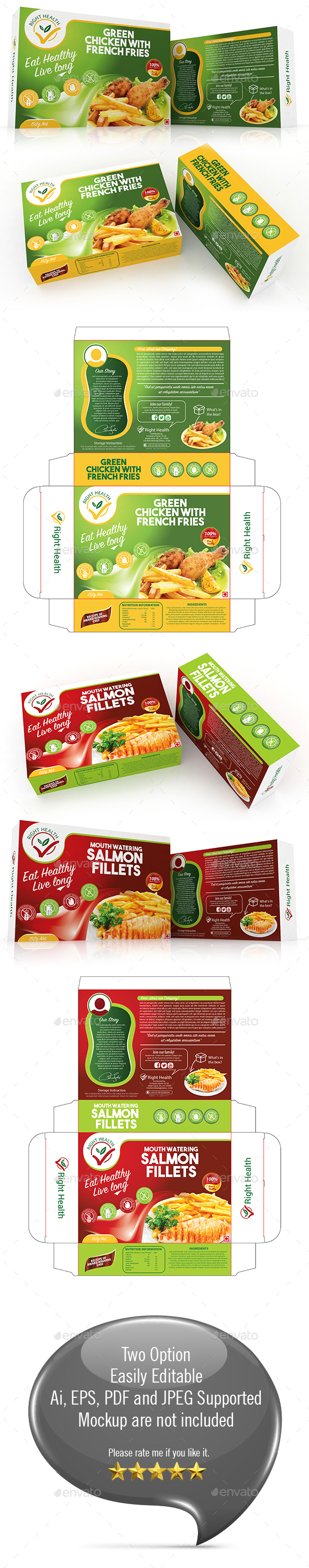 Fast Food box Template - Packaging Print Templates
