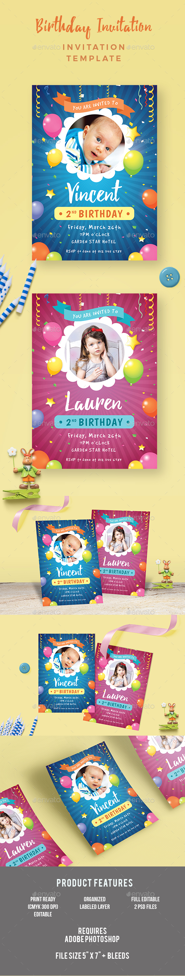 Kids Birthday Invitation - Invitations Cards & Invites