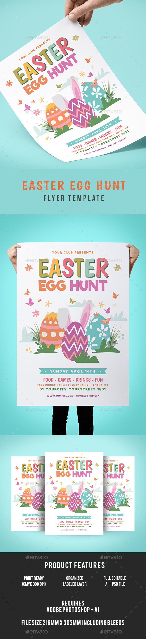 Easter Egg Hunt Flyer - Events Flyers