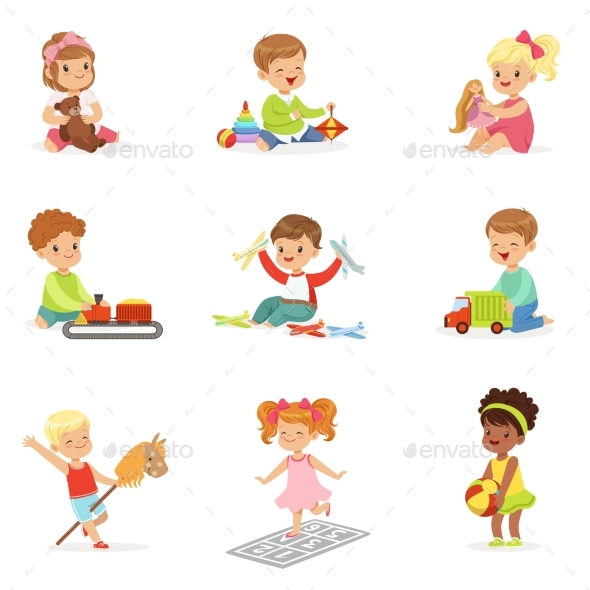 Children Playing with Different Toys - People Characters