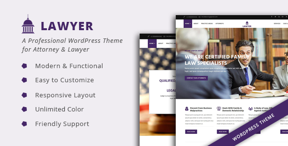 Lawyer – A Professional WordPress Theme for Attorney & Lawyer