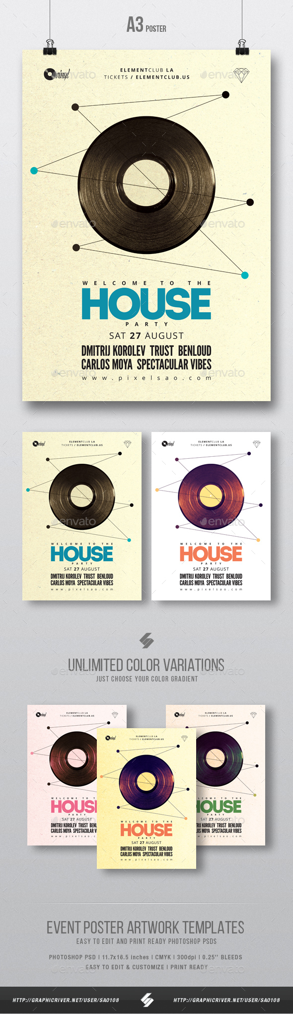 Oldschool House Music - Party Poster / Flyer Template A3 - Clubs & Parties Events