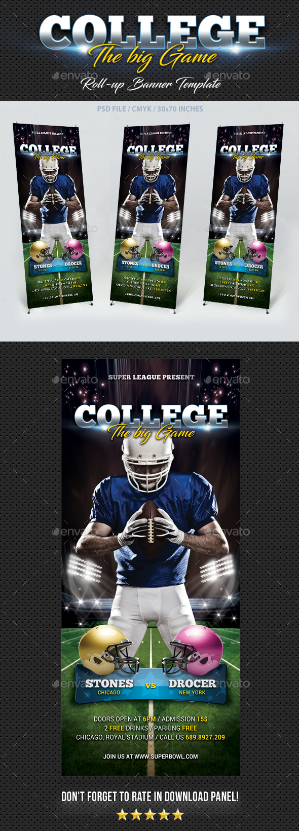 American Football Banner Template - Signage Print Templates